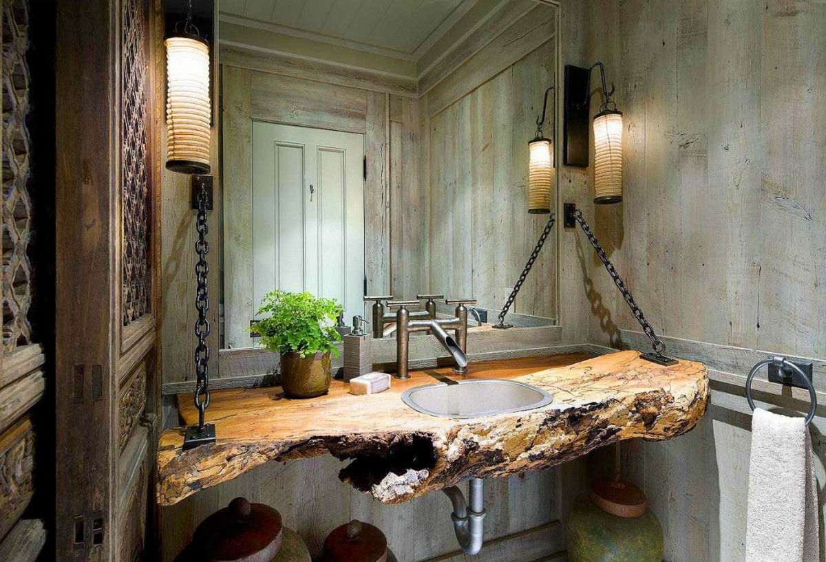 Rustic Bathroom Features